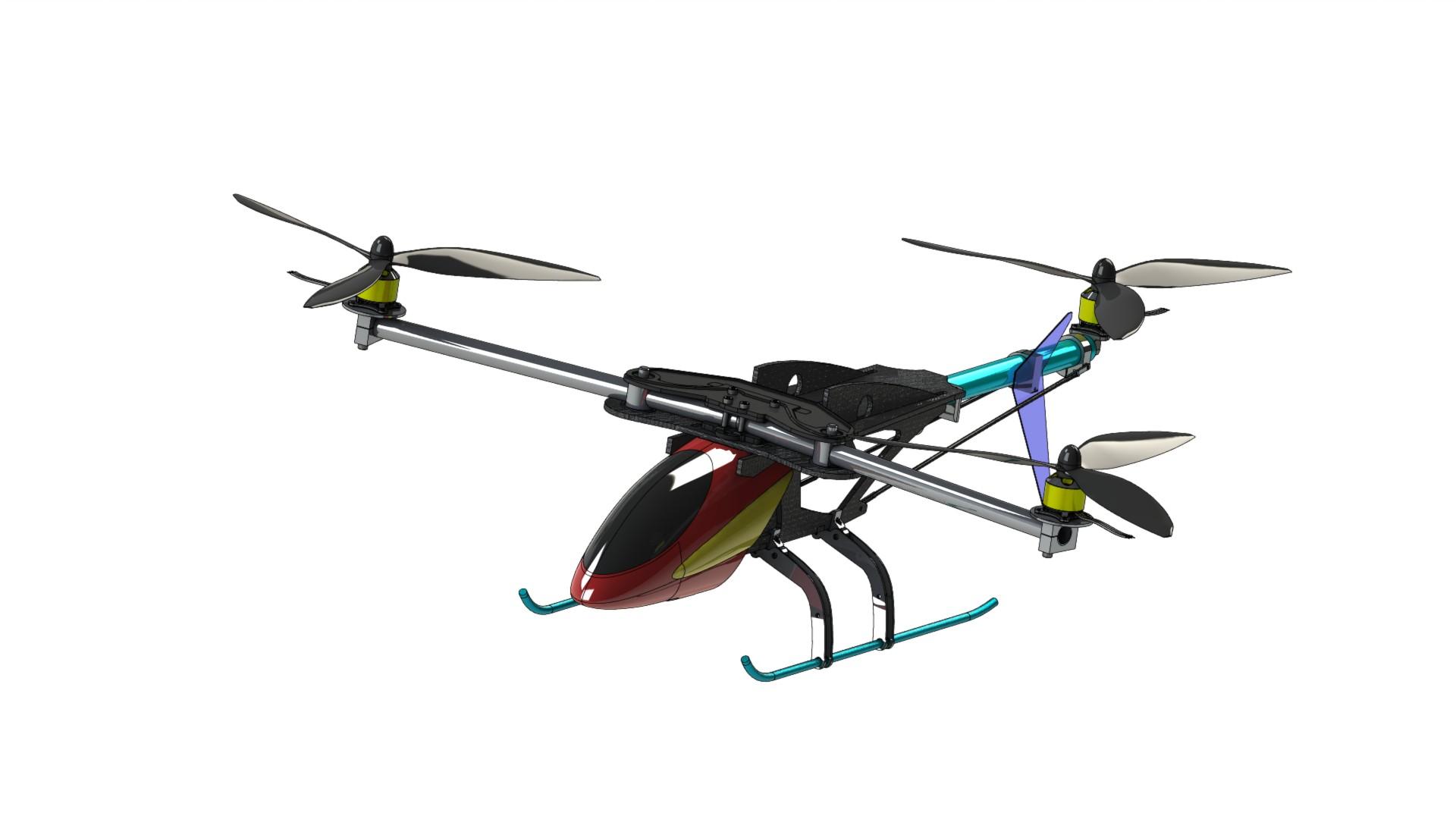 自制三旋翼直升飞机图纸-SW、STEP格式