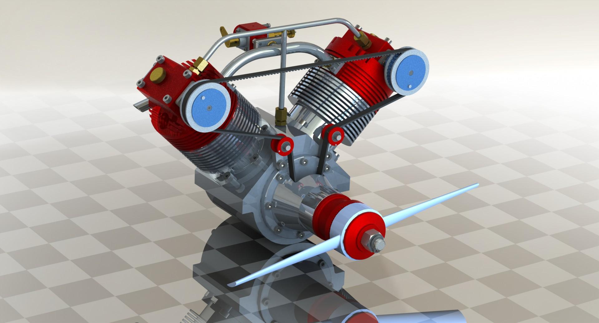 A 20cc四冲程航模活塞发动机 3D模型
