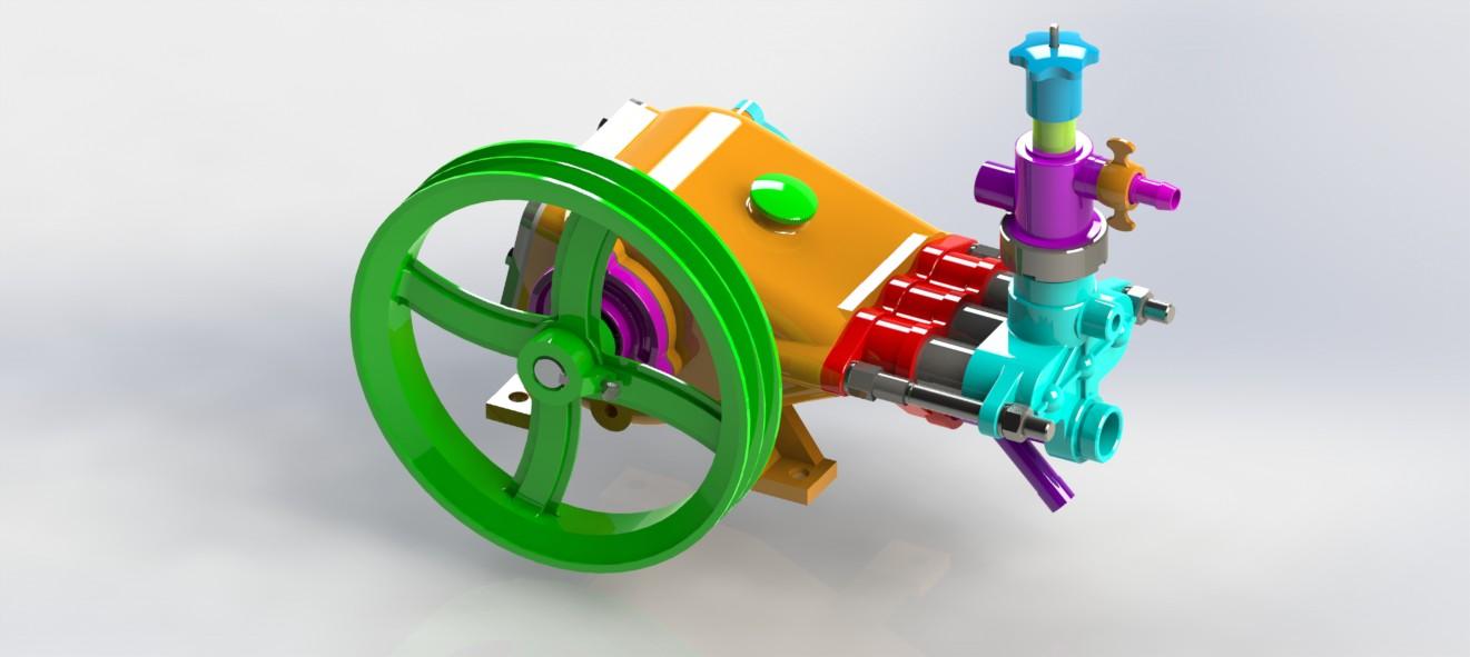 三缸活塞泵三维图