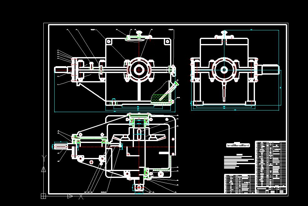 一级圆锥齿轮减速器装配图(A0 1:1)