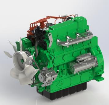 KUBOTA V3600柴油发动机模型3D图纸 STEP x_t格式