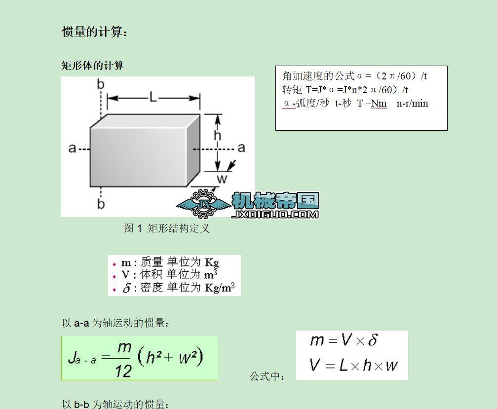 常用物体的转动惯量及扭矩的计算