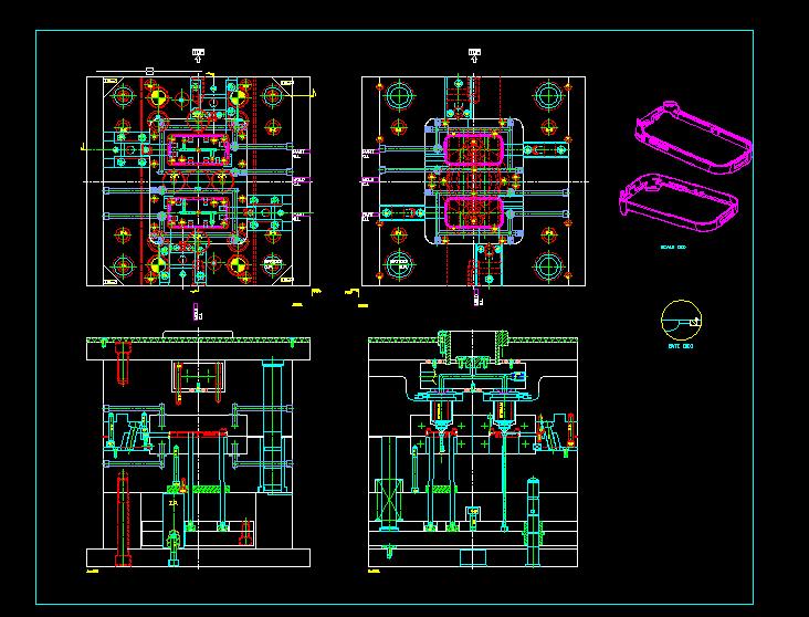 塑料框模具CAD结构图