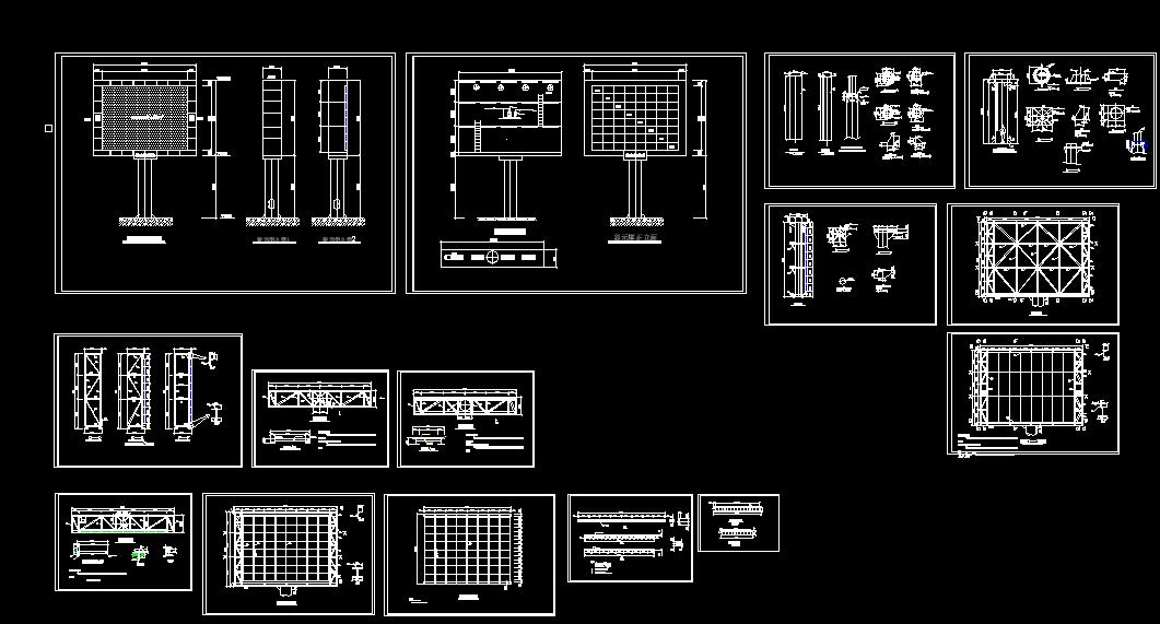 大屏幕钢结构广告牌CAD图纸